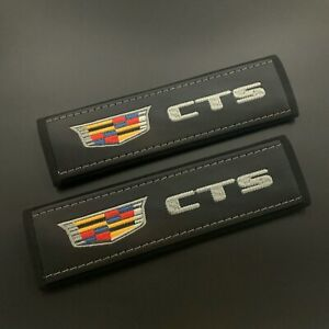 Cadillac CTS Black Seat Belt Shoulder Pads Covers with embroidery 2PCS