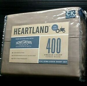 New TAUPE Heartland Homegrown 400TC Cotton Sateen CALIFORNIA CAL KING Sheet Set