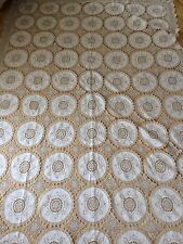 Antique 1800s Bed Throw Cover Linen & Lace Panels Double Bedspread Sham Pristine