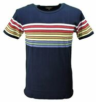 Mens Retro Mod 60s Indie Rainbow Multi Striped Cotton T Shirt