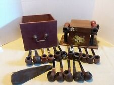 Lot of 21 Vintage Smoking Tobacco Estate Pipes Humidor Pipe stand