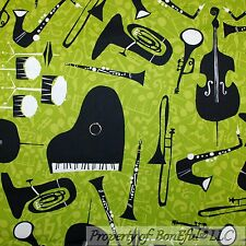 BonEful Fabric Cotton Quilt VTG Green B&W Music Note Piano African Xmas FQ SCRAP