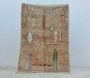 Authentic Carpet Berber Rug wool Handmade Moroccan Beni Ourain Rug 8″x5″ feet