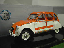 CITROËN 2 CV SPOT 1976 orange et blanc 1/18 d SOLIDO 421183600 voiture miniature