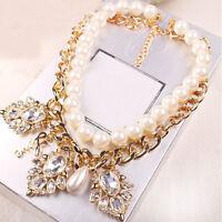 Fashion Jewelry Pendant Crystal Chunky Pearl Bib Chain Statement Necklace Cuddly