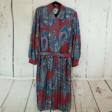 Leslie Fay Dress Women 18W Plus Red Blue Floral Pleated A-Line Long Sleeve Vinta