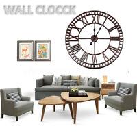 80CM Large Wall Metal Clock  Roman Numerals Clock Outdoor Garden Decor