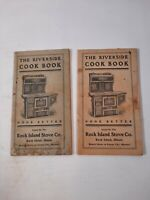 Lot of 2 Vintage Riverside Cook Book, Rock Island Stove Company, 1920s Illinois