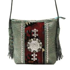 Raviani Turquoise Leather & Antique Persian Carpet Shoulder Bag W/ Crystals