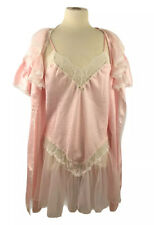 New listing Vintage 80's Jaclyn Smith Pink Sissy Set Nightie Romper Lace Trim Chiffon Large