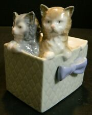 "Vintage Nao Porcelain Cats In A Basket Figurine #1080 4"" x 3.25"" x 3"" Excellent"
