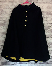 Vintage Civil War Era Reproduction Reenactment Men's Cape Black Gold Buttons Woo