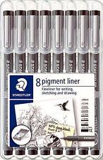 Staedtler Black Pigment Liner Pen Fineliner 8 Tip Sizes Set Writing Drawing