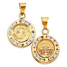 San Benito 14k Oro Cz Redondo Medalla - Inoxidable Benedicto Auténtico 14K
