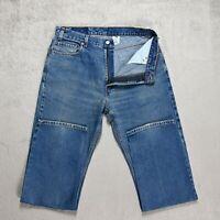 Mens LEVIS 505 Jeans Size W35 L32 Straight Fit Zip Fly Mid blue Denim VINTAGE