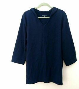 Karen Scott Women's Plus Blue Pullover Top Hooded Sweatshirt Knit Size 1X