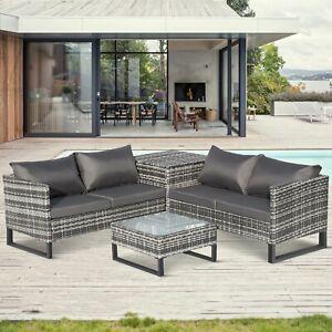 Garden Rattan Furniture Set 4 pieces Outdoor Patio 4 Seater Sofa Set PE Wicker