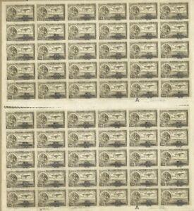 1932 MEXICO, EAGLE AND AIRPLANE, OVERPRINT HABILITADO - FULL SHEET 20 CENT MNH