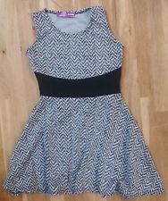 Aqua Girls' Herringbone Pattern Dress, Ivory/Black, Size 2T