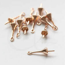 2 Pieces Premium Rose Gold Plated Brass Base Cap with Peg 16x4.5mm (7515Z)