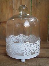 Kleiner Kuchenteller mit Glasglocke Cloche Metall Spitze Shabby Landhaus Muffin