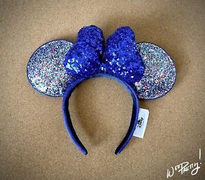 2020 Disney Parks Minnie Mouse Glitter Sparkle Ears Blue Sequined Bow NWT