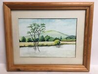 Vintage Watercolour Country Scene Lake By Trees Hill Mounted Framed Painting