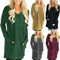 UK Womens Knitted Sweater Jumper Dress Ladies Winter Long Pullover Oversized Top