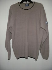Top Flite Tan Navy Blue Lambswool Angora Crewneck Sweater Made in Scotland L