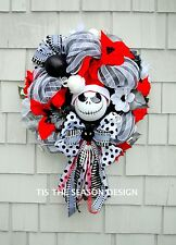 Nightmare Before Christmas Wreath for The Door Jack Skellington Black White Red