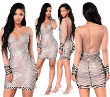 Abito Aperto ricamato Aderente Nudo Zip Pailette Cerimonia Party Sequin Dress S