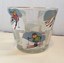 Vintage Ashby Comic Skiing Glass Bowl Ice Bucket~Gold Gilding Rim~FUNNY HUMOR
