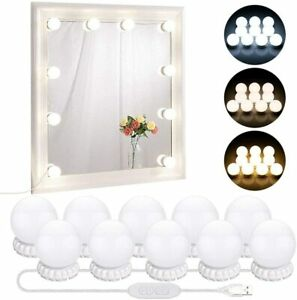 USB LED Vanity Mirror Light Kit for Makeup Dressing Table W/ 10 Bulbs Dimmable