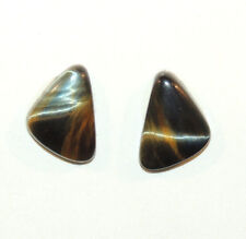 Blue Green Tiger's Eye 16x12mm Cabochons Set of 2 From Africa (8949)