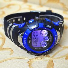 OHSEN 7 color Changable Led Light Sport Digital Gray Blue Boy Child Quartz Watch