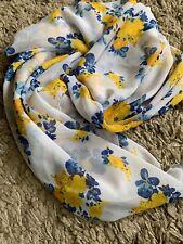 Ladies Fashion  Islam Headcover Hijab White Blue Yellow Print Square