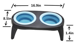 1 Pack Raised Collapsible Silicone Double Bowl Pet Dog Feeder Food Water Stand