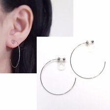 Invisible Clip On Silver Hoop Earrings Minimal Large Hoop Earrings MiyabiGrace