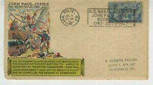 U.S. Navy - John Paul Jones FDC 1947 Fluegel Cachet Cover Scott 1017 3c Stamp S3