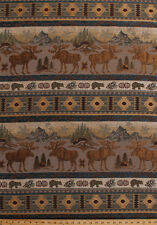 """54"""" Tapestry Moose Bears Wildlife Woods Mountains Cabin Decor Fabric By the Yard"""