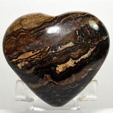 7.1cm Stromatolite Puffy Cuore Intagliato Naturale Alghe Fossile Cristallo Perù