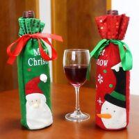 Red Wine Bottle Cover Bags Snowman/Santa Claus Christmas Decoration Sequins