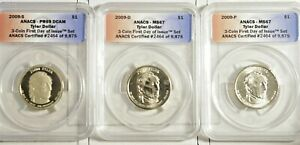 2009 P-D-S John Tyler 3 coin Set  First Day Issue ANACS Certified