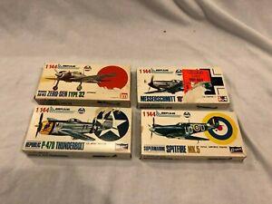 Crown AHM P-47D Thunderbolt, Zero, Spitfire, Messerschmitt 1/144 Model Kits NEW