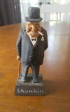 "Rare vintage Gerald ""Pat"" Hannah Quebec wood carving Winston Churchill 6"" signed"