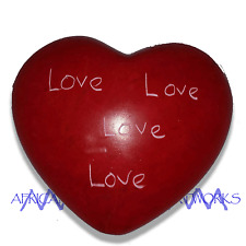 African Kenyan - Kisii SoapStone (Soap Stone) Hand Painted & Carved Heart Love