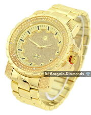 men's big heavy gold tone bling dial business clubbing watch bracelet