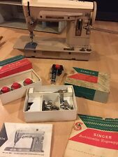 Vintage Singer 404 Slant Needle Sewing Machine With Attachments