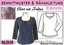 Shirt mit Falten pdf.Schnittmuster und Nähanleitung  Gr.:36-50