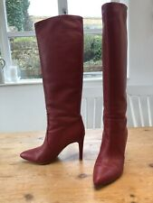 Beautiful Genuine Gianvito Rossi Red Leather Knee High Boots